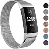 "SWEES Metal Bands Compatible Fitbit Charge 3 and Charge 3 SE, Milanese Stainless Steel Magnetic Replacement Small & Large (5.5"" - 9.9"") for Women Men, Silver, Champagne, Rose Gold, Black, Colorful"