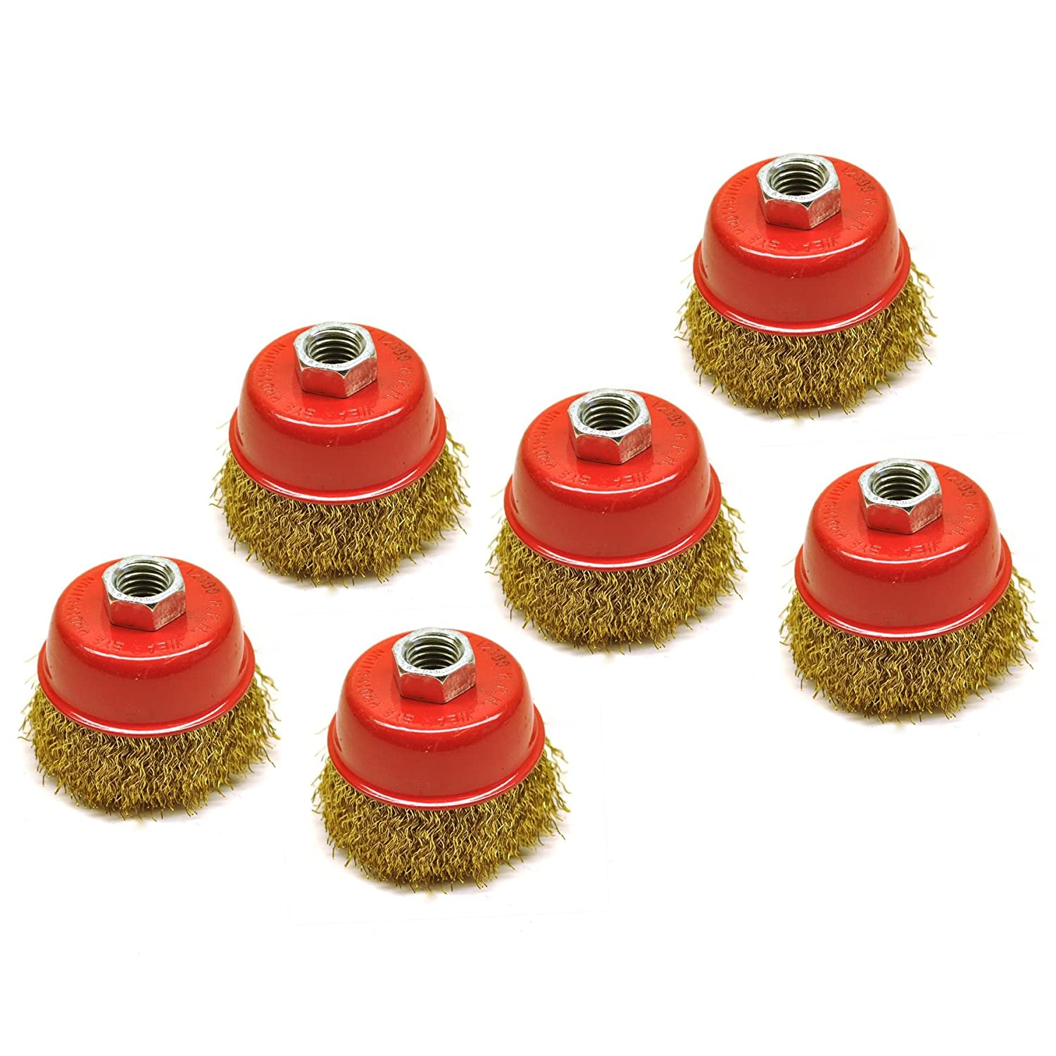 Wire Cup Brush / Wheel for Angle Grinder Crimped Brass Coated (6 Pack) TE331 AB Tools