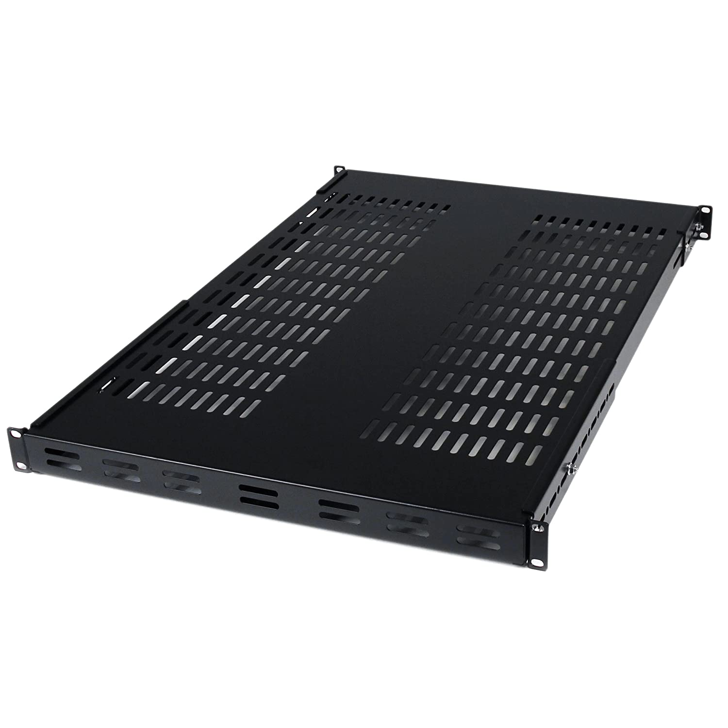 StarTech.com Server Rack Shelf - 1U Shelf - 175 lb. / 80 kg - Vented Network Rack Tray - 19'' to 38'' Adjustable Mount Depth (ADJSHELF)