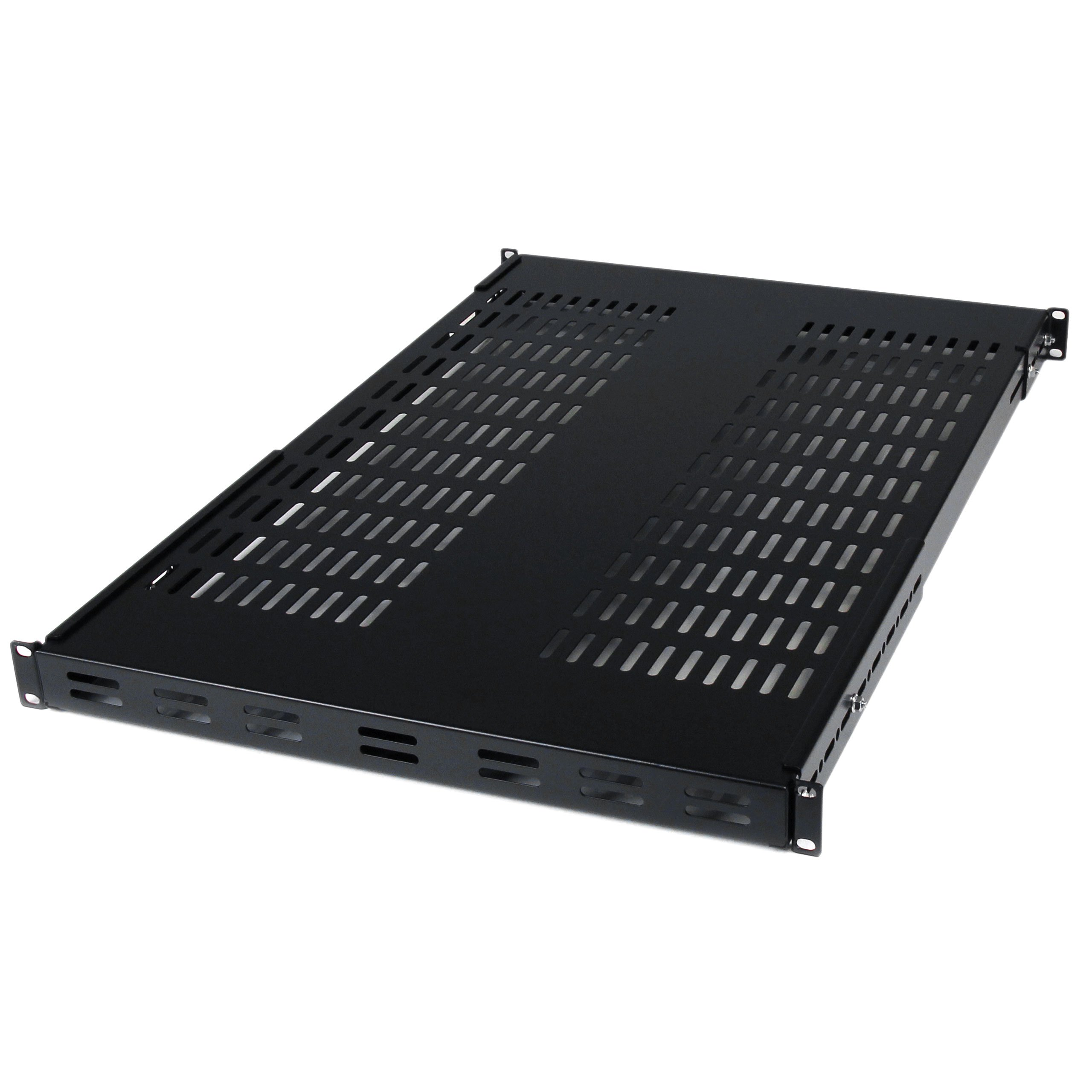 StarTech.com ADJSHELF 1U Adjustable Mounting Depth Vented Rack Mount Shelf - 175lbs / 80kg - Fixed Server Rack Shelf by StarTech
