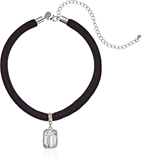 "product image for 1928 Jewelry Black Velvet Choker with Swarovski Crystal Adjustable Pendant Necklace, 13"" + 6"" Extender"