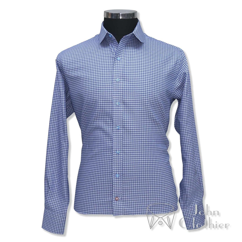 Whitepilotshirts Mens Tab Collar Blue Checks Shirt 100 Cotton Long