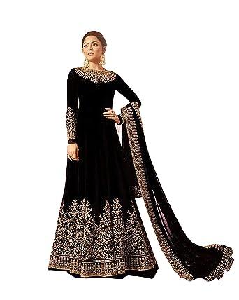 8821995a9a ziya Indian/Pakistani Designer Embroidered Anarkali Salwar Kameez LT_2202  (Black, XS-36