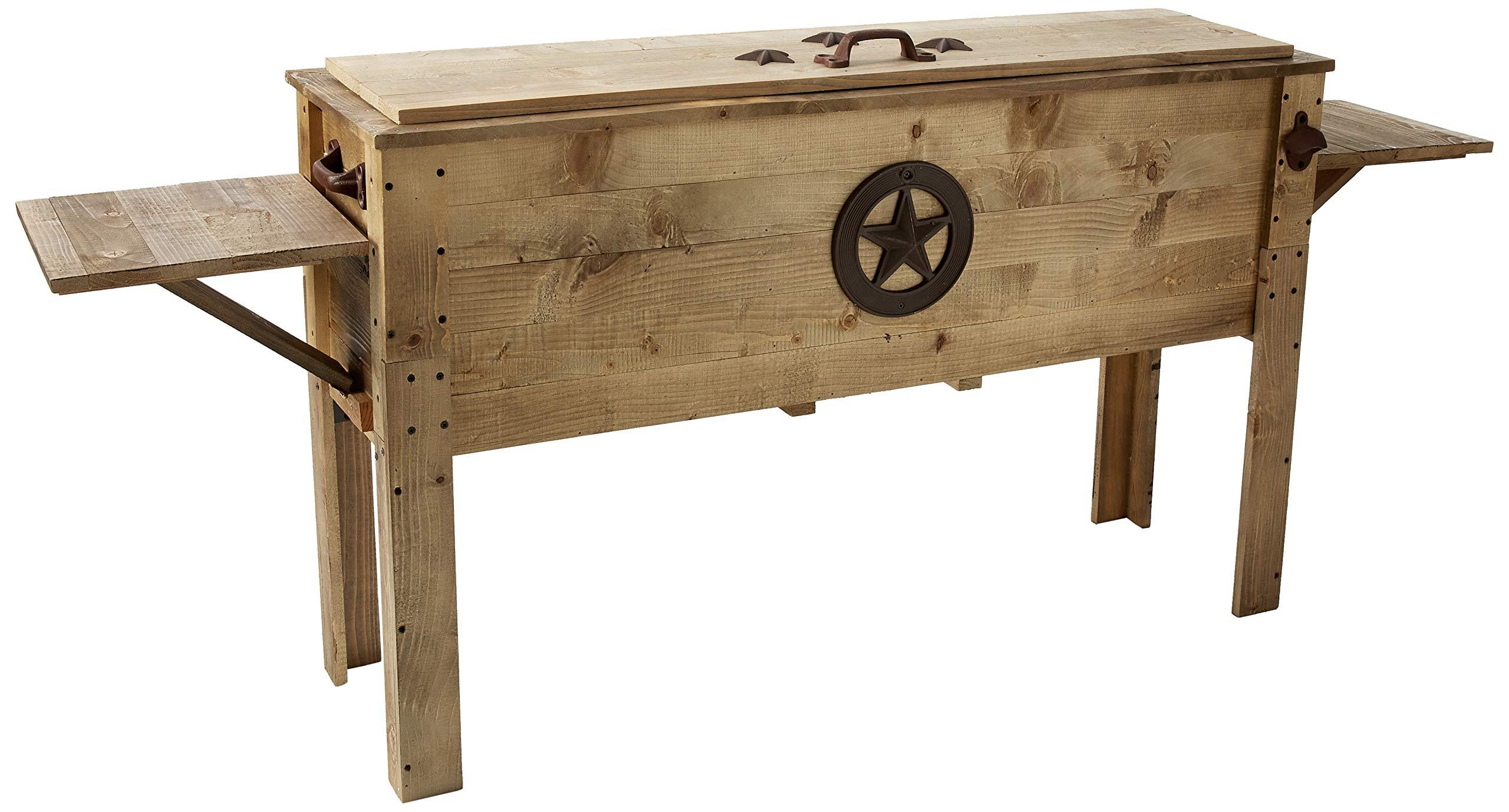 Backyard Expressions 913284 Decorative Outdoor Wooden Cooler, 87 quart, Brown