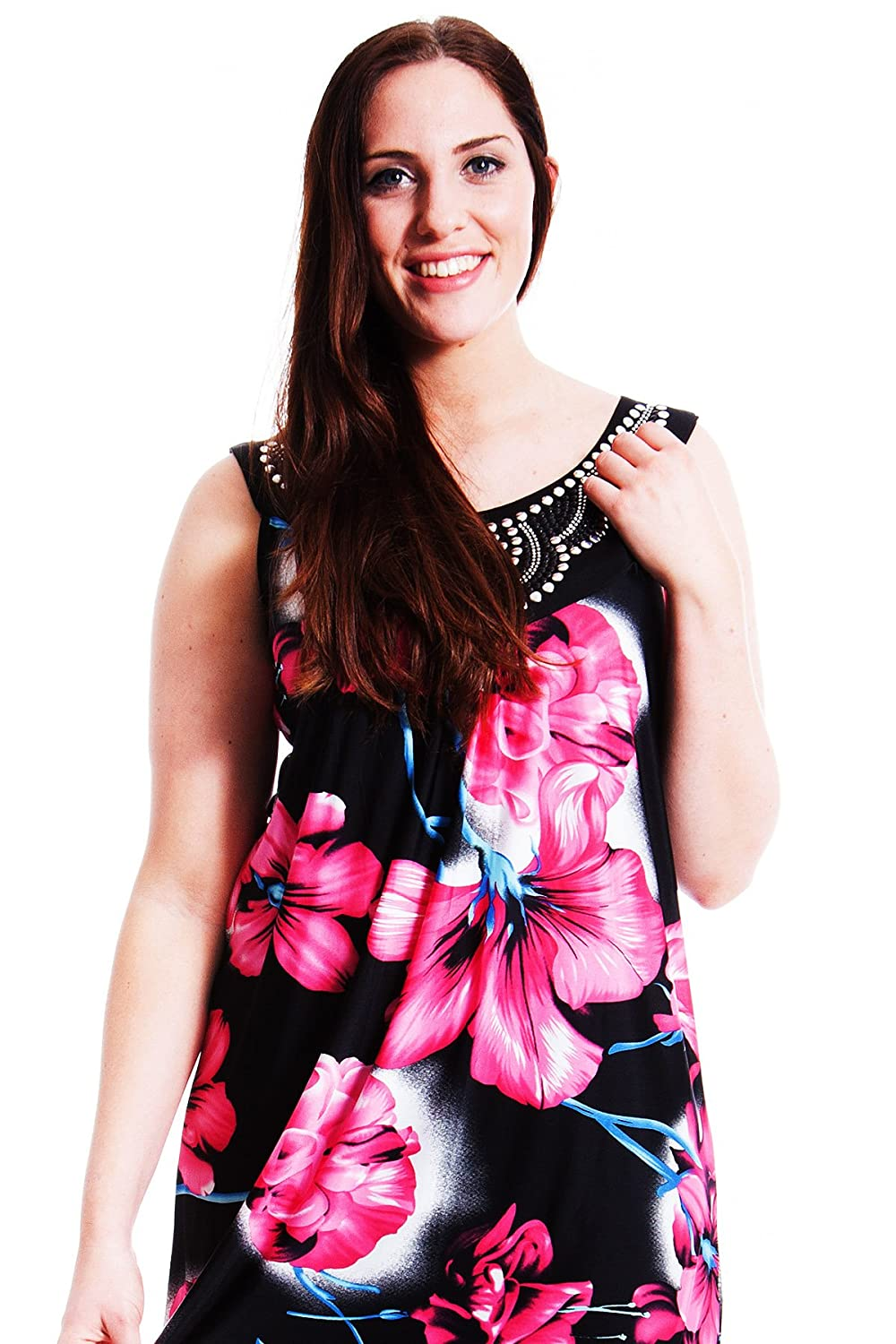 New Ladies Plus Size Top Womens Floral Print Paradise Blues Round Neck  Sleeveless Tunic Nouvelle Collection 14 to 26-28: Amazon.co.uk: Clothing
