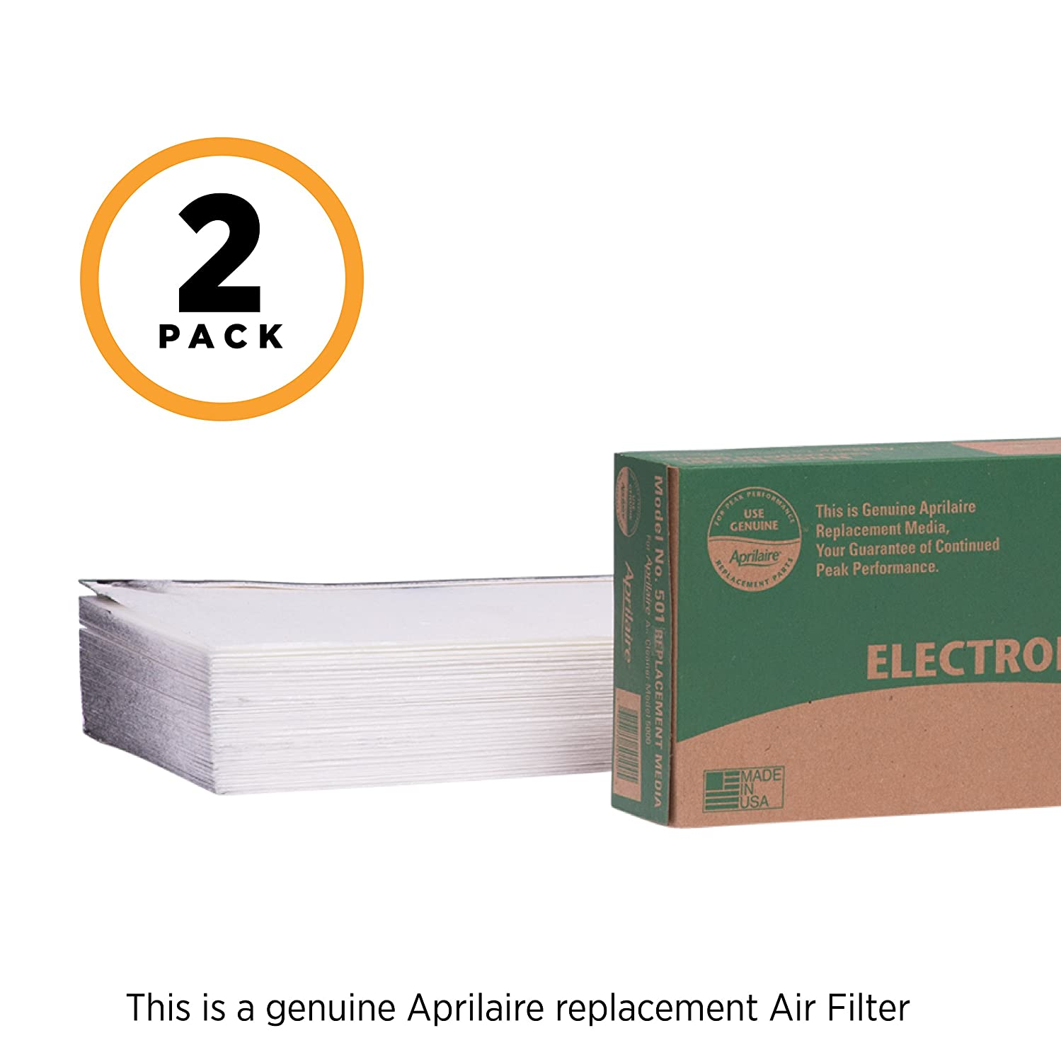 Aprilaire 501 Replacement Filter for Aprilaire Whole House Electronic Air Purifier Model: 5000, MERV 16 (Pack of 2)