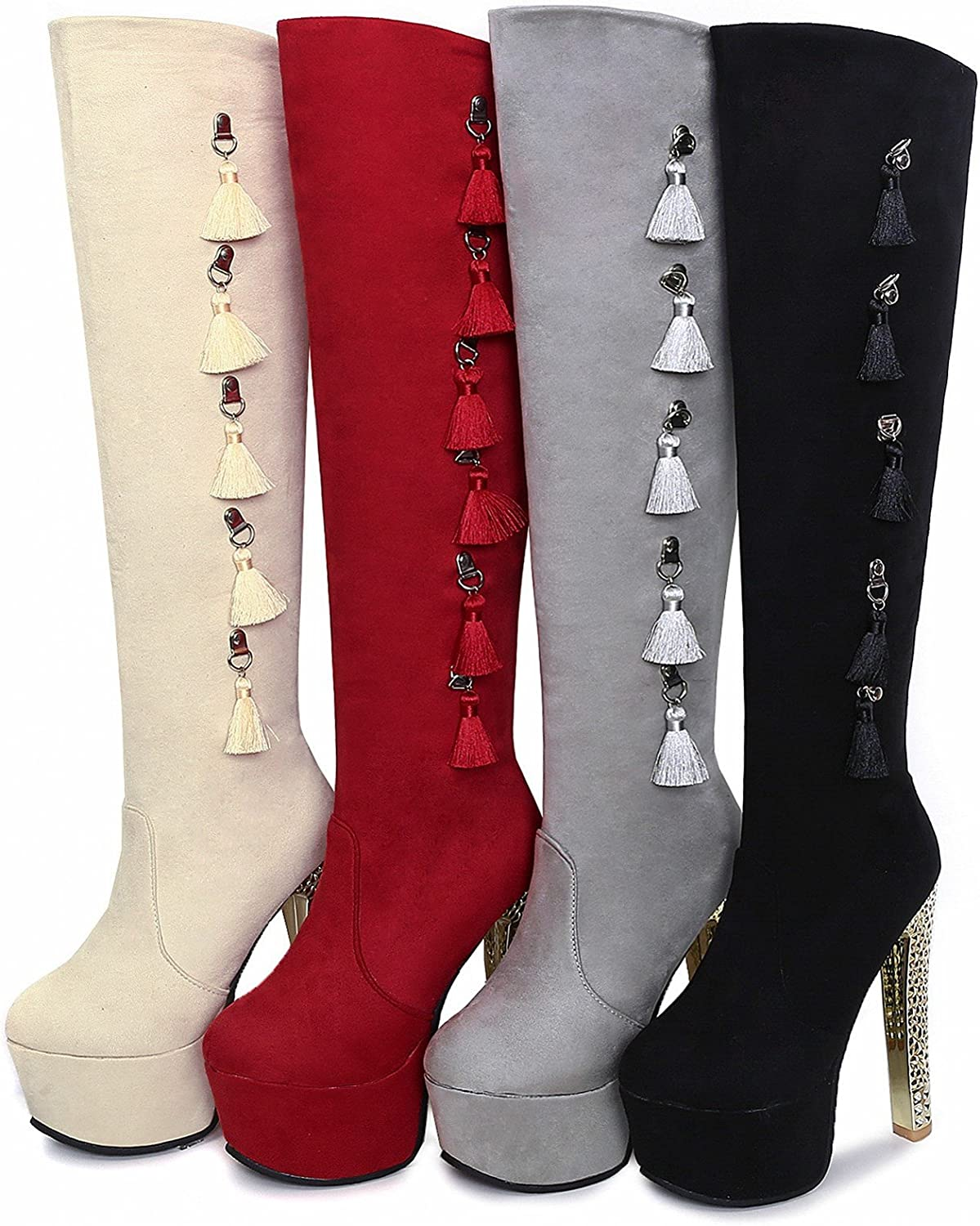 Rongzhi Womens Knee High Boots Platform Super Heels Thick Pumps Party Boots Round Toe