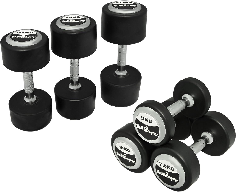 Deluxe 325 kg ({10} par, 20 pcs) pesas revestidas de goma negro - Bad Company pesas con cromo-aplicaciones