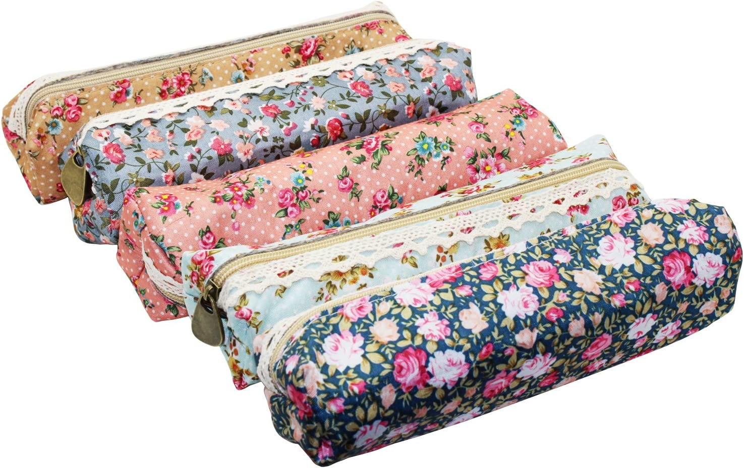 LJY 5-Pack Assorted Flower Floral Canvas Pen Holder Stationery Pencil Pouch Cosmetic Bags