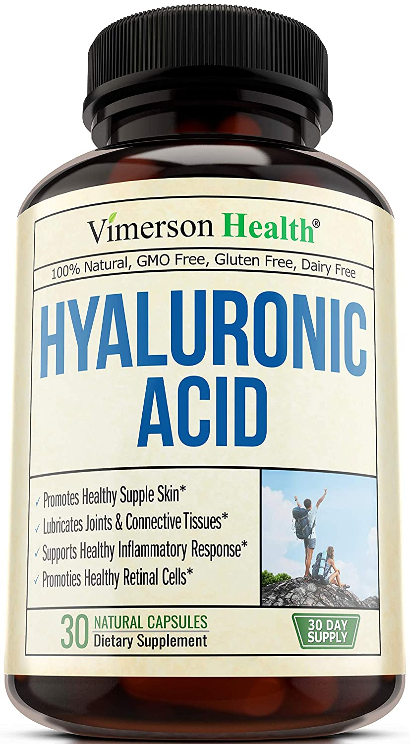 Hyaluronic Acid Capsules Natural Supplement - Powerfully Supports Skin Hydration & Joint Lubrication. Supports Healthy Connective Tissue and Cartilage - Promotes Healthy Skin, Hair, Nails & Bones