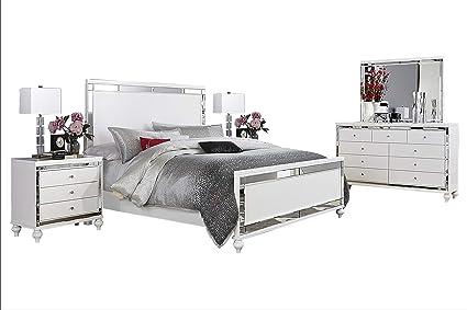 Magnificent Amazon Com Acevo Modern Mirrored 5Pc Bedroom Set Queen Bed Interior Design Ideas Tzicisoteloinfo