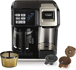 Hamilton Beach (49950C) FlexBrew Coffee Maker, Single Serve & Full Coffee Pot, Compatible with K-Cup Packs or Ground Coffee, Programmable, Includes Permanent Filter (Renewed)