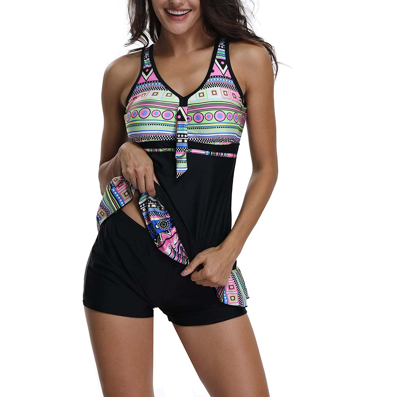 Womens Swimdress Tummy Control Swimwear Slimming Skirt Swimsuits Bathing Suit Dress