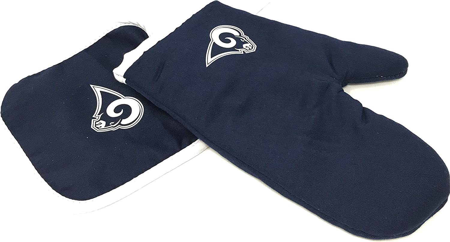 Pro Specialties Group PSG NFL Bold Logo Los Angeles Rams Logo Oven Mitt and Pot Holder Set