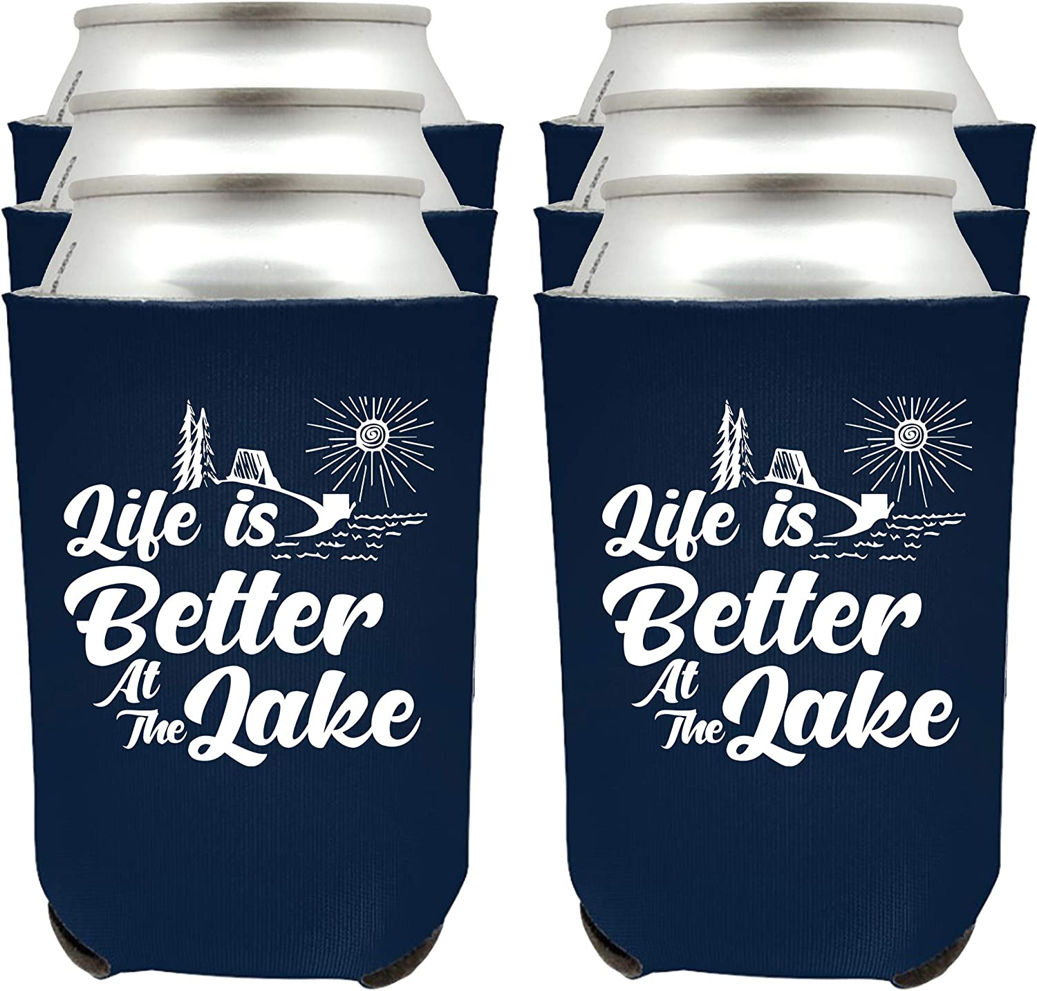 Shop4Ever Life is Better At The Lake Can Coolie ~ Lake Life Lake House Beer Can Sleeve Coolers ~ (Navy, 12 Pk)
