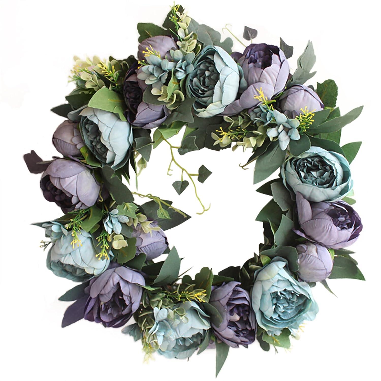 Justdolife Decorazione Ghirlanda Di Fiori Elegante Fiore Finto Ornamento Da Appendere Porta Ghirlanda Con Ghirlanda Decorativa