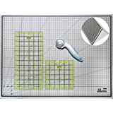 "Cutting Mat A2 Foldable Self Healing Craft Board & Quilting Ruler Set / Non Slip Transparent Acrylic Quilters Inch Template 12x6"" & 6x6"" / with Free Rotary Cutter 45mm for Art & Fabric Patchworking by Doc Crafty."