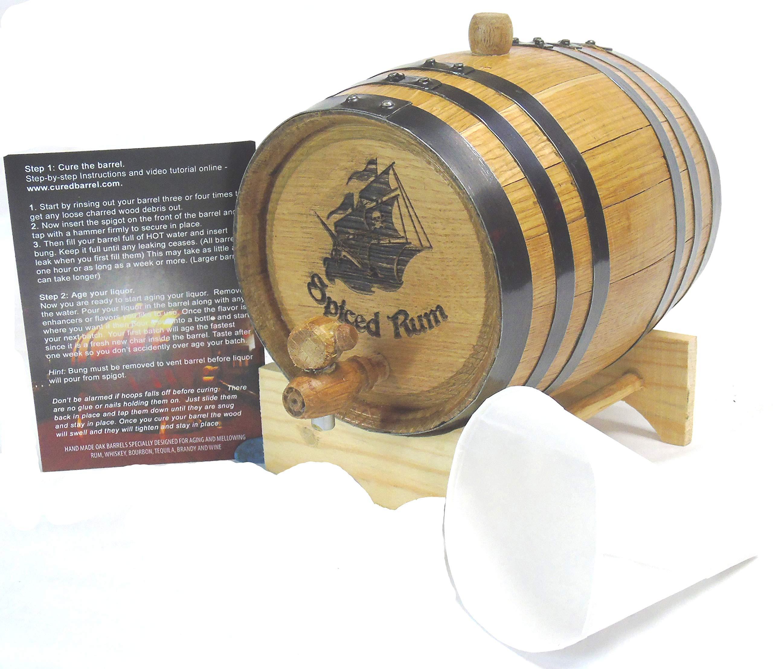 Engraved 2 Liter Charred American White Oak Aging Barrel (Pirate Ship Rum)