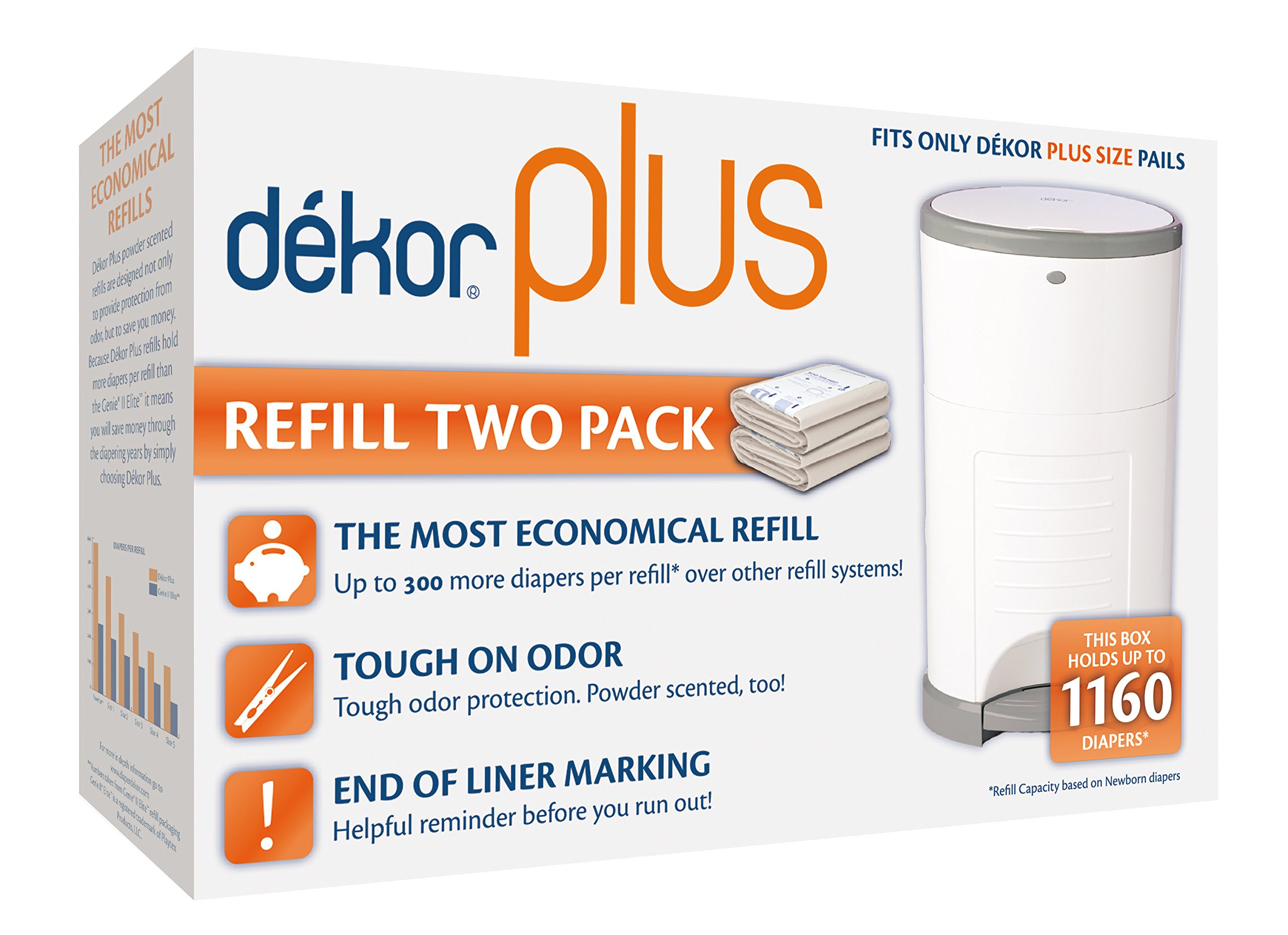 Dekor Plus Diaper Pail Refills | 2 Count | Most Economical Refill System | Quick & Easy to Replace | No Preset Bag Size - Use Only What You Need | Exclusive End-of-Liner Marking | Baby Powder Scent by DEKOR