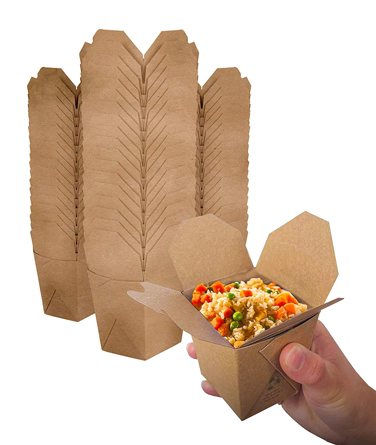 Takeout Food Containers 8 Oz Microwaveable Kraft Brown Paper Mini Chinese Take Out Box (50 Pack) Leak and Grease Resistant Stackable to Go Boxes - Recyclable Food Containers - Party Favor Boxes