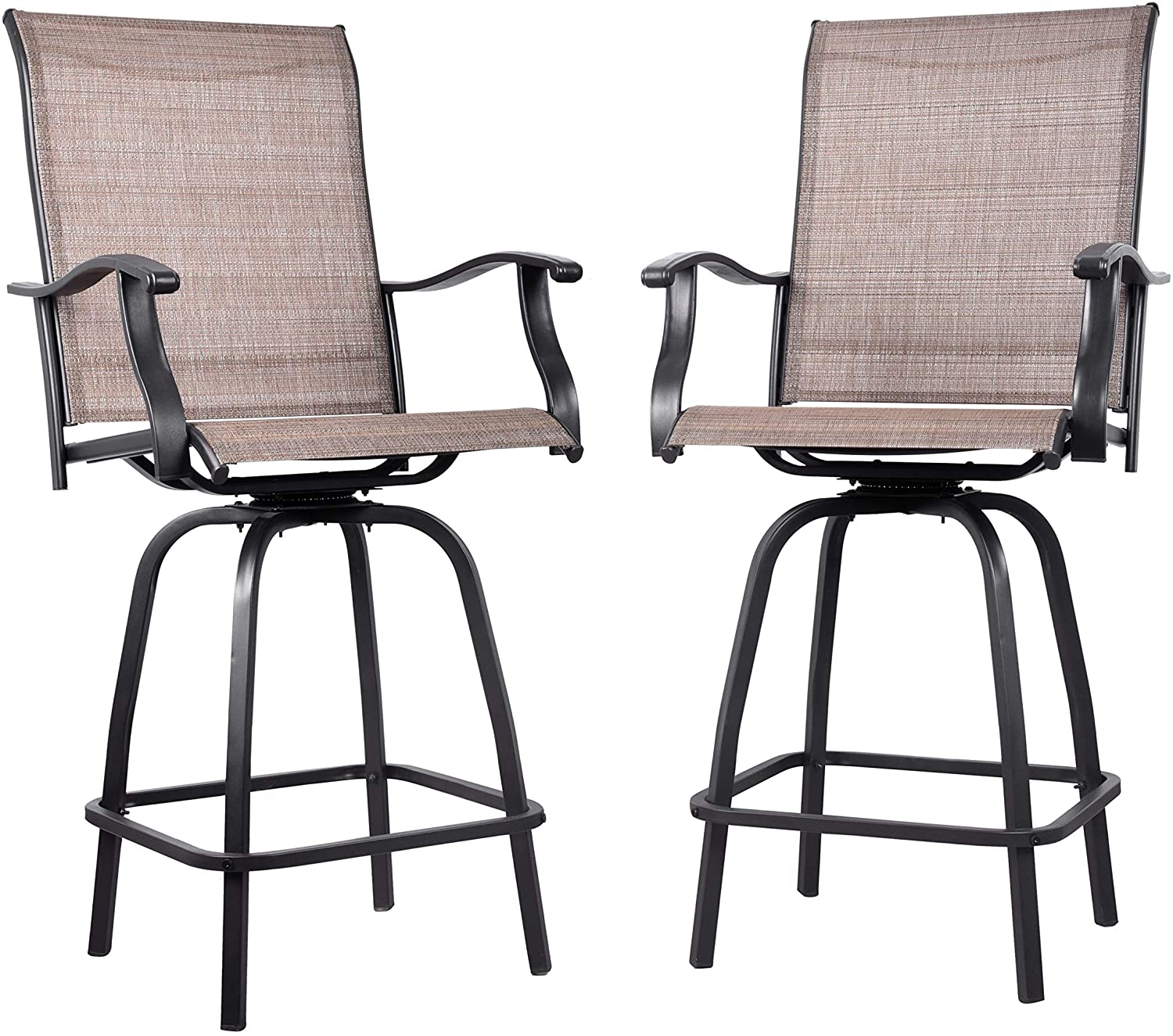 EMERIT Outdoor Swivel Bar Stools Bar Height Patio Chairs, Set of 9 (Bar  Stools)