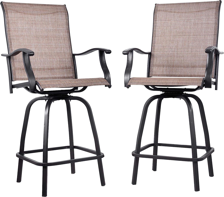 EMERIT Outdoor Swivel Bar Stools Bar Height Patio Chairs, Set of 9 Bar  Stools