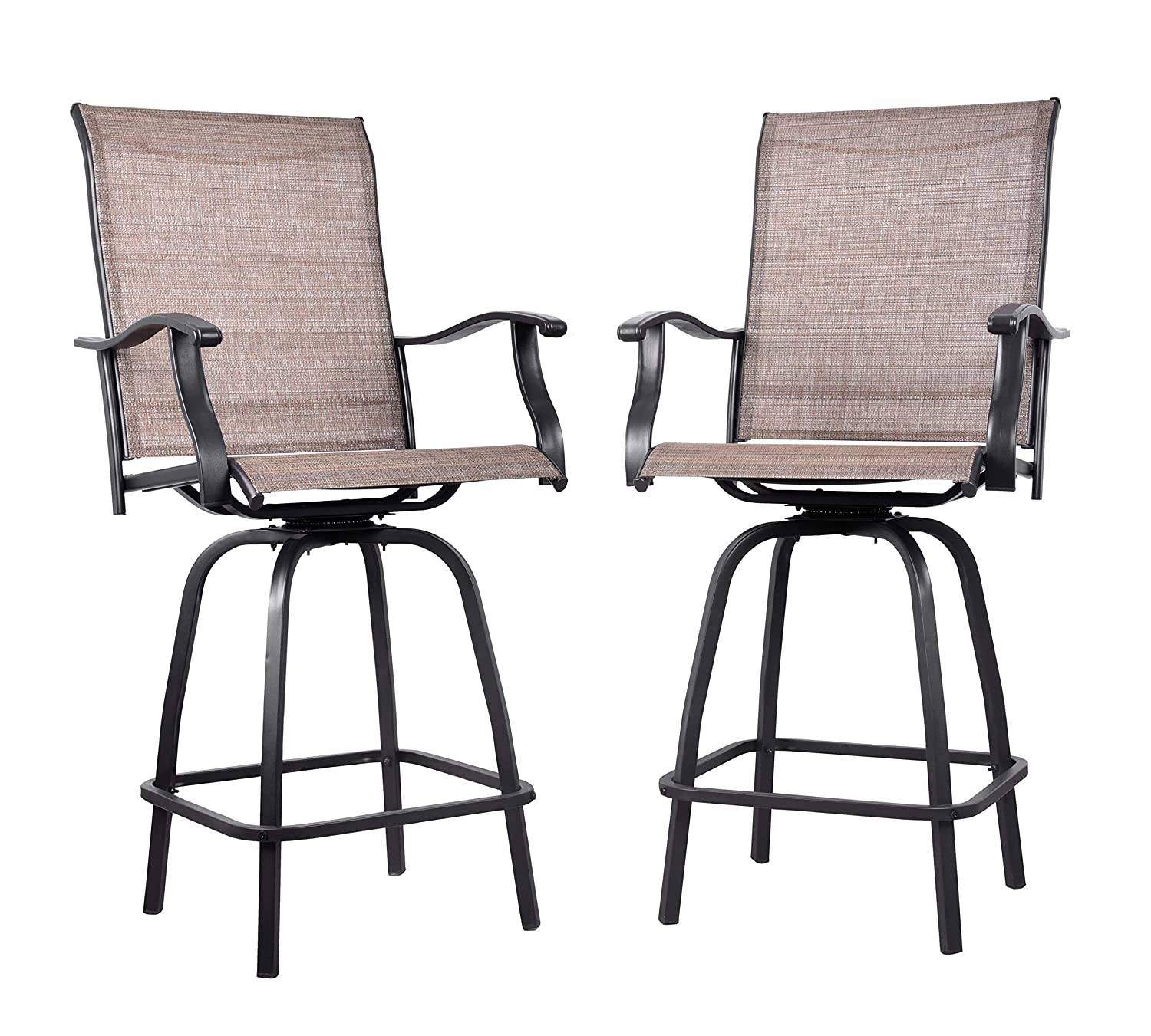 EMERIT Outdoor Swivel Bar Stools Bar Height Patio Chairs, Set of 2