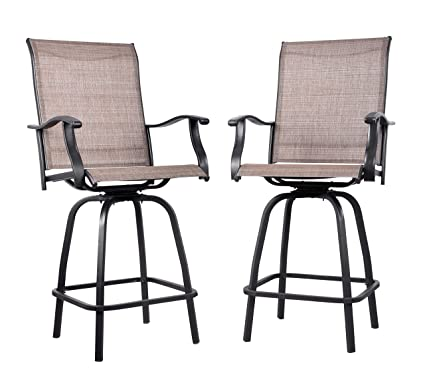 sports shoes 5de85 4cca5 EMERIT Outdoor Swivel Bar Stools Bar Height Patio Chairs, Set of 2