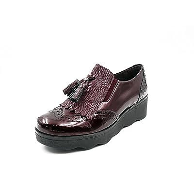 Tipo Pitillos Mujer Oxford Burdeos Combinado Piel Zapatos Color F1cTlKJ3