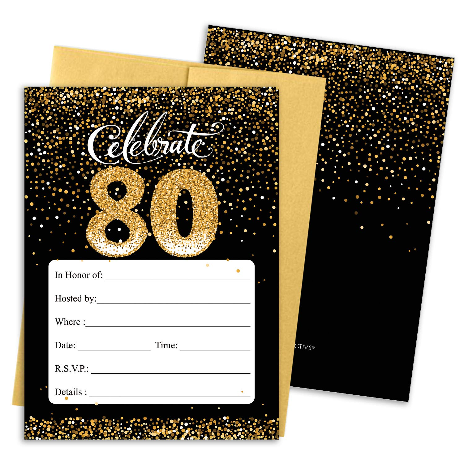Amazon DISTINCTIVS 80th Birthday Party Invitation Cards With Envelopes 25 Count Black And Gold Home Kitchen
