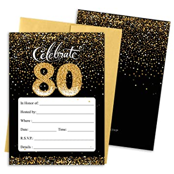 Amazon DISTINCTIVS 80th Birthday Party Invitation Cards With