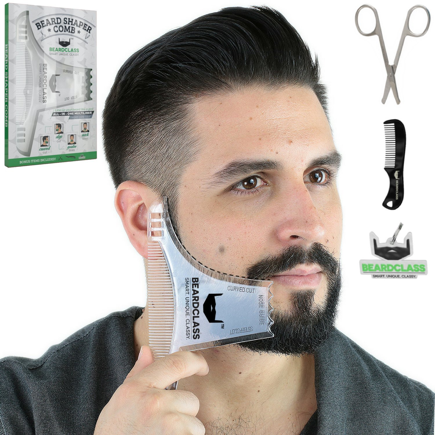 BEARDCLASS - Beard Shaping Tool - 6 in 1 Comb Multi-liner Beard Shaper Template Comb Kit Transparent - Bonus Items Included - Works with any Beard Razor Electric Trimmers or Clippers - (Clear)