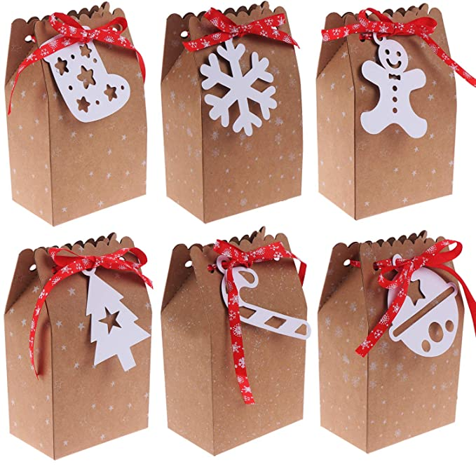 24 Sets Christmas Candy Bags Kraft Gift Bags Bulk Christmas Gift Bags Holiday Gift White Tags With 24 Pieces Red Silk Ribbon For Christmas Party Supplies Diy Gifts Boxes Amazon In Home