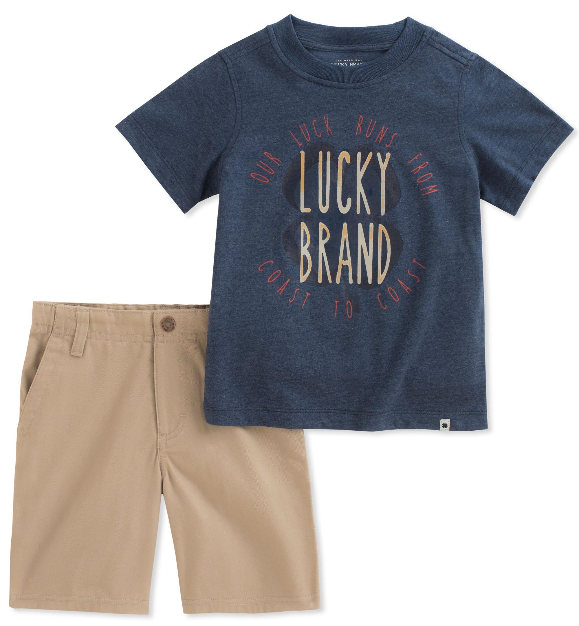 Lucky Brand Boys' Little' Shorts Set, Dark Blue, 5