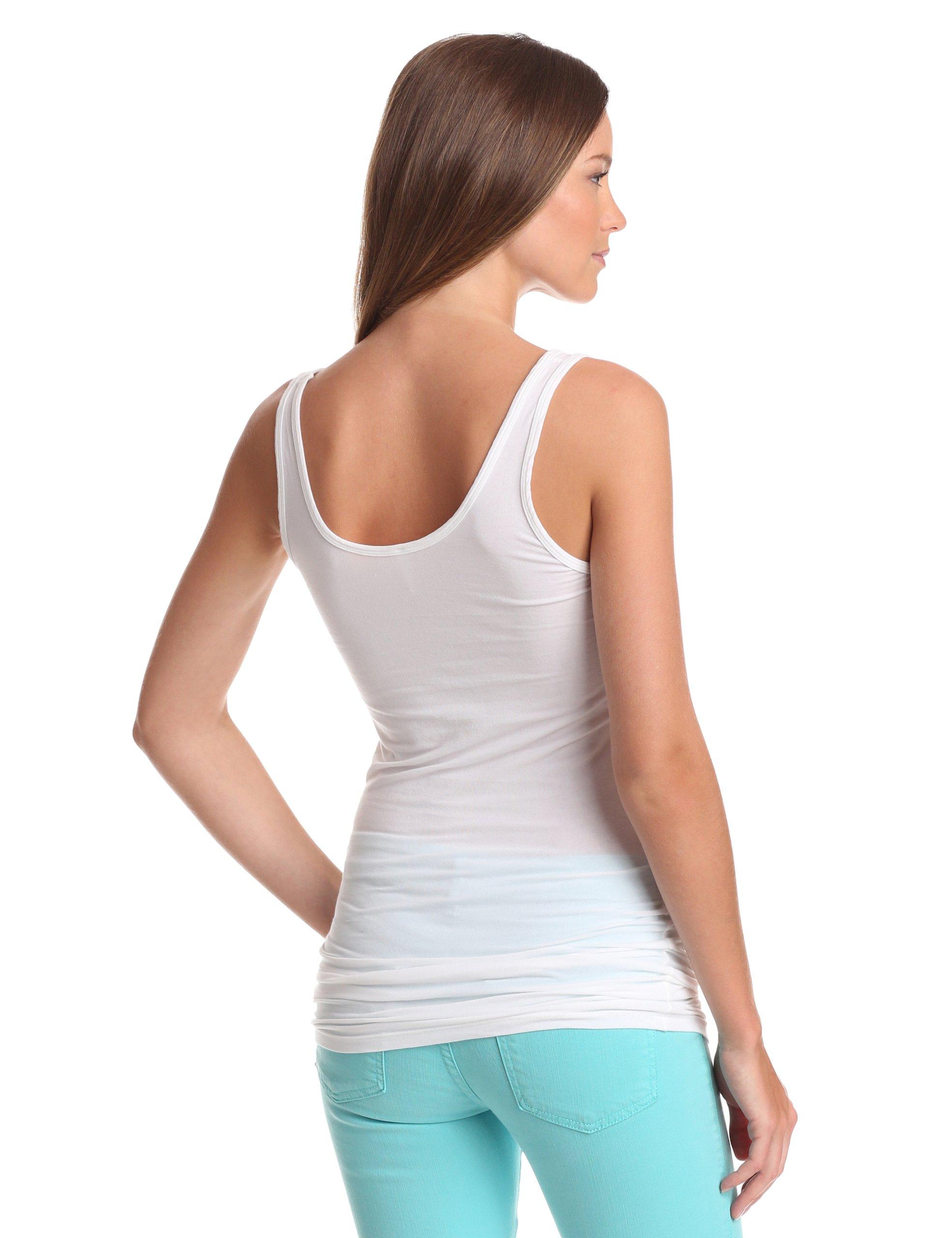 Splendid Women's Long Fitted Layering Tank,White,Large by Splendid (Image #2)