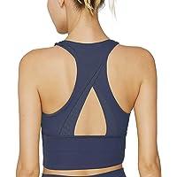 light & leaf Longline Sports Bra Padded Workout Crop Yoga Bra Tops for Women