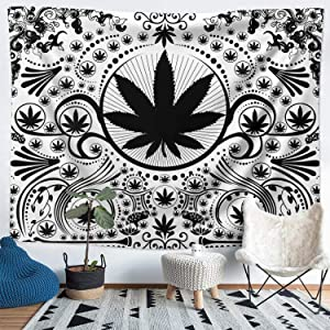 Funeon Marijuana Weed Leaf Tapestry Black and White Mandala Tapestry Wall Hanging Room Decor for Men Women, Cool Small Stoner Plant Tapestries Boho Aesthetic for Bedroom, Dorm,College Home 51x60 inch