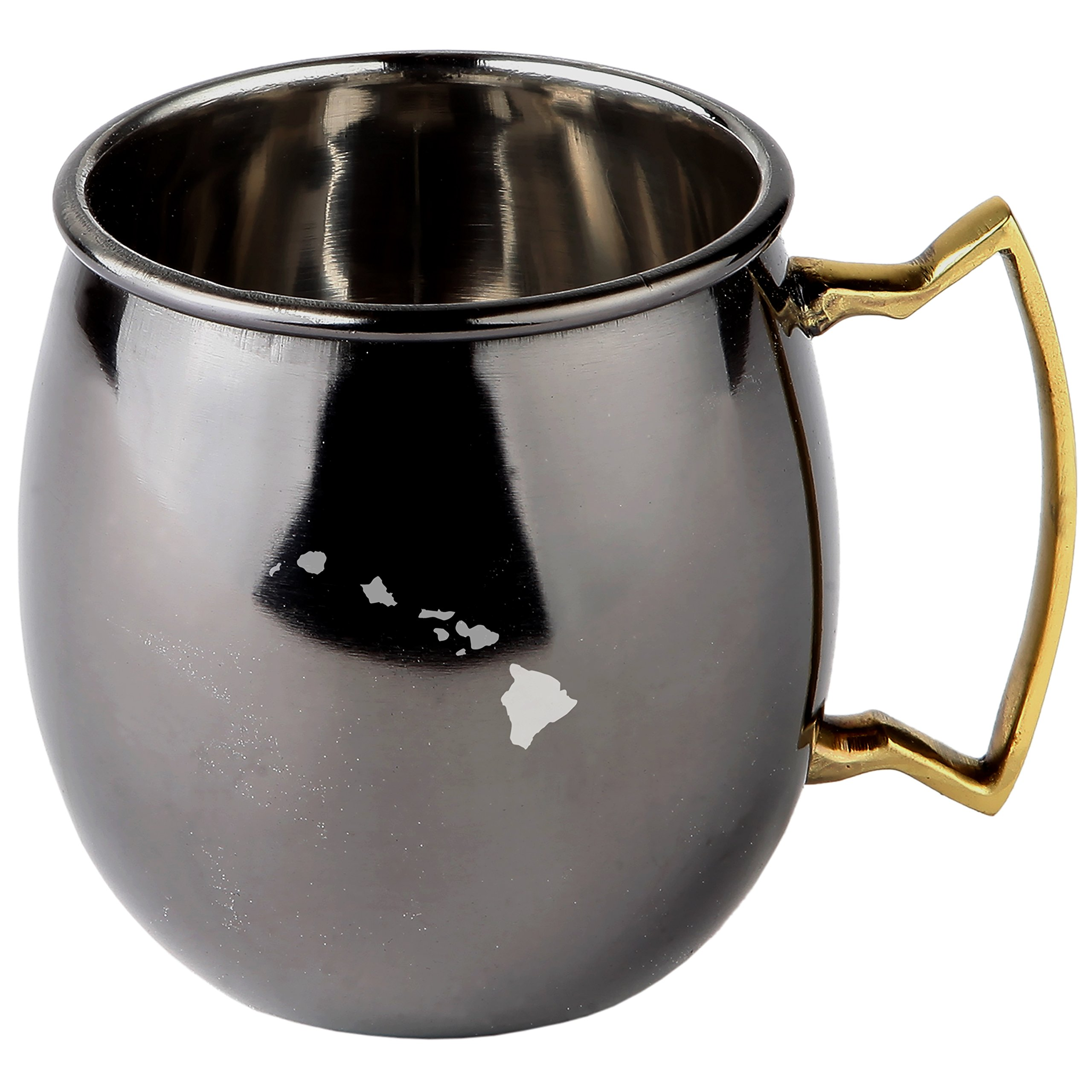 Hawaii Stainless Steel Moscow Mule Mugs With Black Mirror Finish - Copper Plated Cocktail Mug - 16 Oz Moscow Mule Mug Gift