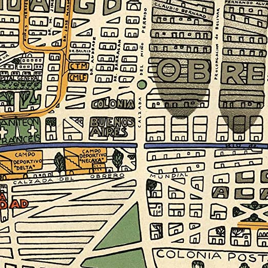 Amazon.com: Mapa de la Ciudad de Mexico - MEXICO CITY Map circa 1932 - measures 24