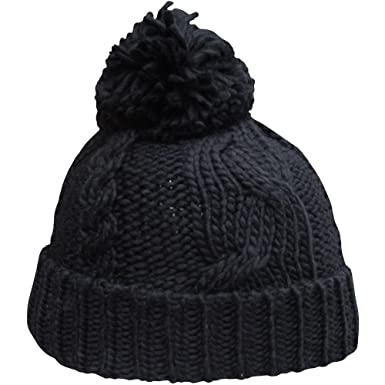 8110f26958e TeddyT s Women s Extra Chunky Cable Knit Thermal Winter Bobble Hat (Black)   Amazon.co.uk  Clothing