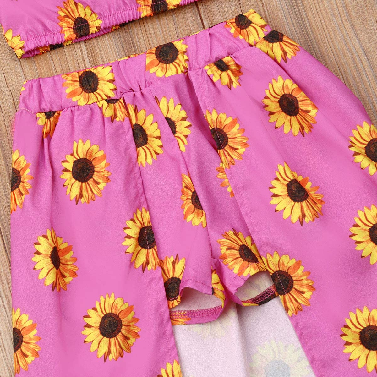 Kids Baby Girls Sunflower Clothes Off Shoulder Crop Top and Maxi Pant Skirt Outfit Set