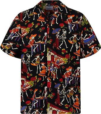 David Carey | Original Camisa Hawaiana | Caballeros | XS - 6XL | Manga Corta | Bolsillo Delantero | Estampado Hawaiano | Día De Muertos Esqueleto| Negro: Amazon.es: Ropa y accesorios