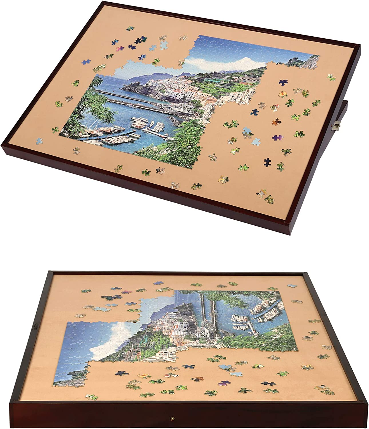 LAVIEVERT Wooden Jigsaw Puzzle Table Large Portable Folding Tilting Table for Up to 1,500 Pieces Puzzles
