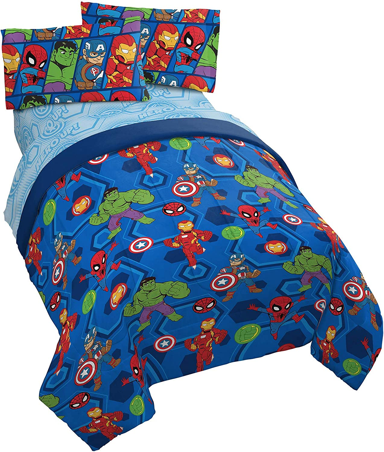 Marvel Super Hero Adventures Hero Together 5 Piece Full Bed Set - Includes Comforter & Sheet Set Bedding Features The Avengers - Super Soft Fade Resistant Microfiber (Official Marvel Product)