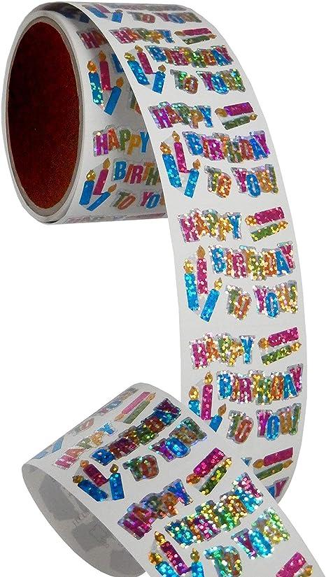 100 Repeats Bulk Roll Prismatic Stickers Congrats//Balloons