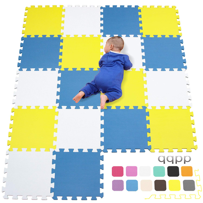Suelo de Goma EVA Suave 30*30*1cm qqpp Alfombra Puzzle para Ni/ños Bebe Infantil 18 Piezas Amarillo.QQC-Eb18N