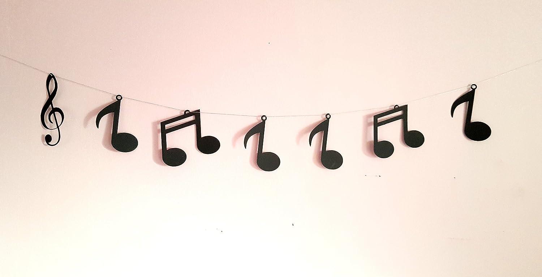 notas musicales en cartulina negra Guirnalda navide/ña hilo de algod/ón plateado