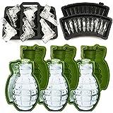 MoldFun 3D Grenade Ice Ball Molds & Pistol Gun + AK47 Bullet Ice Cube Trays - Set of 5 - Novelty Ice Maker for Whisky Cocktail