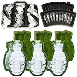 MoldFun 3D Grenade Ice Ball Molds & Pistol Gun + AK47 Bullet Ice Cube Trays - Set of 5 - Novelty Ice Maker for Whisky Cocktail