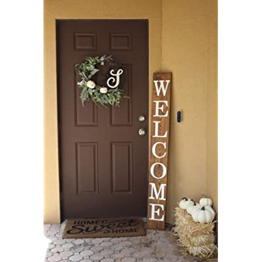 SmithFarmCo Welcome Sign for Front Porch/Front Door Made with Real Wood 5 feet Tall Large Rustic Farmhouse Style (Rustic Barnwood)